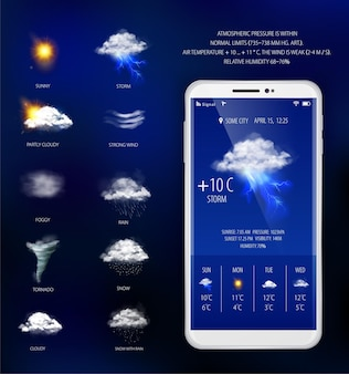 Previsão do tempo no aplicativo móvel
