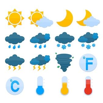 Previsão do tempo, símbolos, cor, ícones, jogo, sol, nuvem, chuva, neve, isolado, vetor, ilustração
