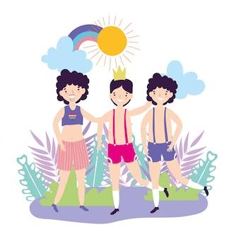 Pride parade comunidade lgbt, direitos de casal de homens adultos