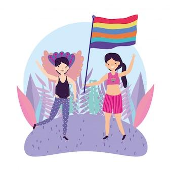 Pride parade comunidade lgbt, homem e mulher com a celebração da bandeira de arco-íris