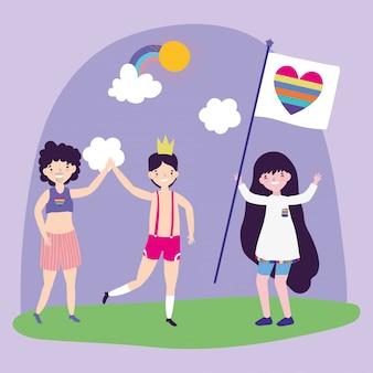 Pride parade comunidade lgbt, homens e mulher com bandeira coração arco-íris