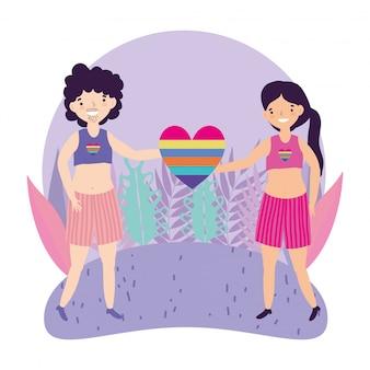 Pride parade comunidade lgbt, pessoas com arco-íris em forma de coração amor