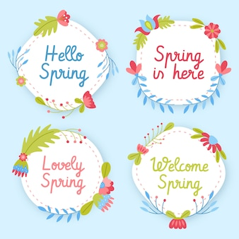 Primavera aqui emblemas com flores