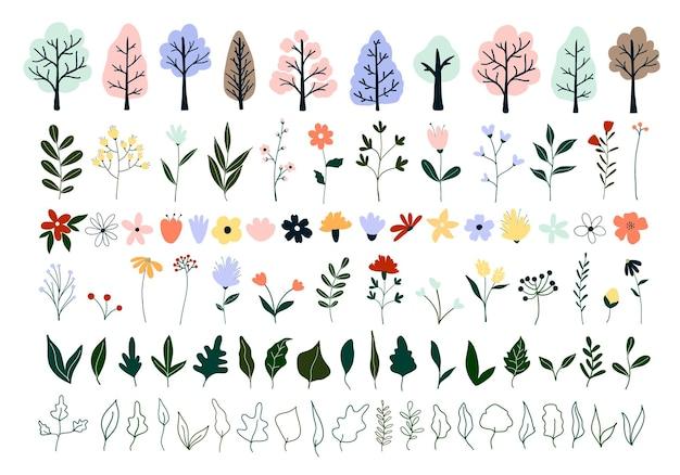 Primavera bonita mão desenhada desabrochando árvores, flores, folhas verdes.