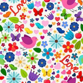 Primavera bonito amor sem costura padrão para cartão, cartão de convite de casamento, aniversário e outra decoração de feriados. ilustração vetorial