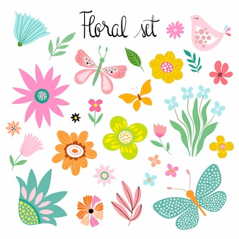 Primavera - coleção de verão com flores decorativas mão desenhada, borboletas e pássaros