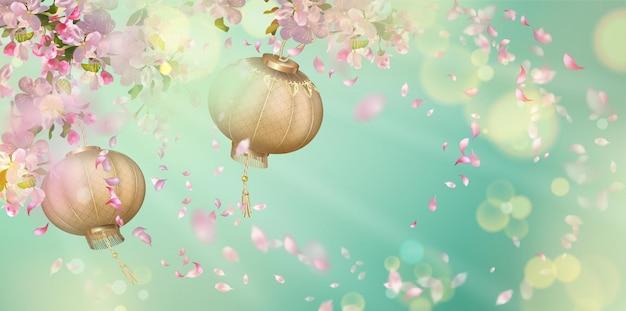 Primavera com flor de cerejeira, pétalas voadoras e lanternas orientais
