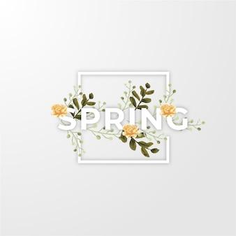 Primavera com flores e folhas