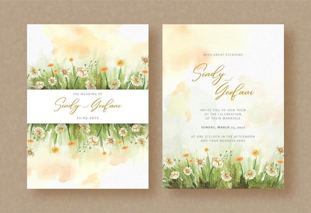 Primavera de flores no jardim com respingos de aquarela no fundo do convite de casamento