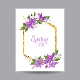 Primavera de florescência e quadro floral dourado de verão.