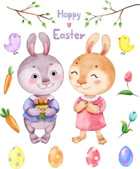 Primavera de páscoa com coelhos, folhas, pássaros, ovos e flores pintadas em aquarela.