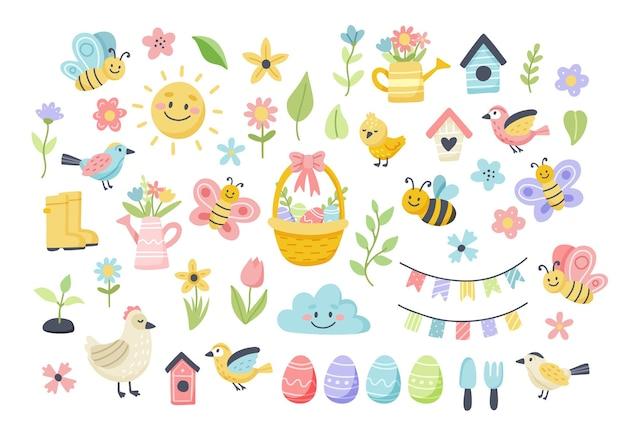 Primavera de páscoa com ovos bonitos, pássaros, abelhas, borboletas. elementos de desenho plano de mão desenhada.