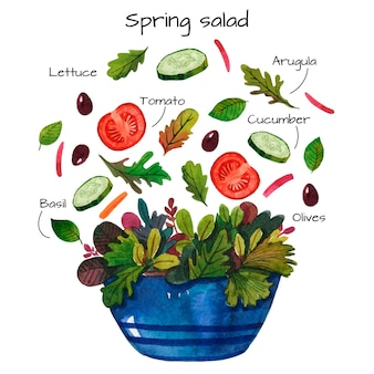 Primavera deliciosa salada receita em aquarela