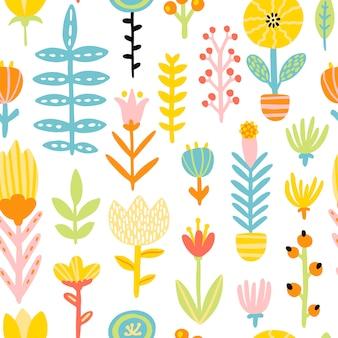 Primavera doodle patern sem costura com flores bonito dos desenhos animados em uma paleta colorida. ilustração infantil em estilo escandinavo desenhado à mão. ideal para têxteis, roupas, embalagens