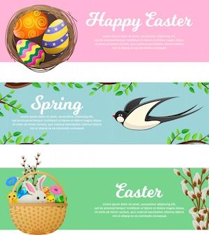 Primavera e feliz páscoa web banners conjunto