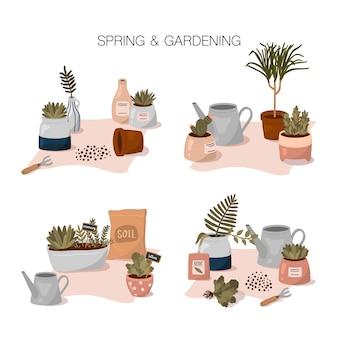 Primavera e jardinagem conjunto com composições de horta em estilo cartoon plana. plantas em casa em vasos bonitos, ferramentas de jardinagem e elementos.