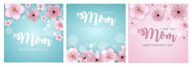 Primavera e verão flores brilhantes conjunto de cartão de feliz dia das mães