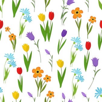 Primavera e verão jardim e flores silvestres sem costura padrão. natureza floral