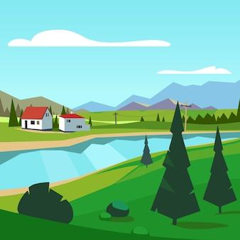 Primavera, fazenda rural, riverside, panorâmico, montanhas