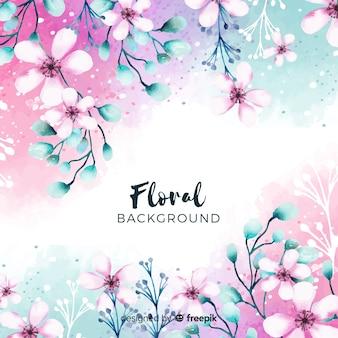Primavera floral fundo aquarela