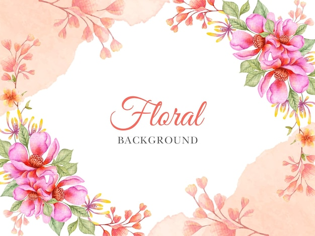 Primavera floral pintado à mão em aquarela