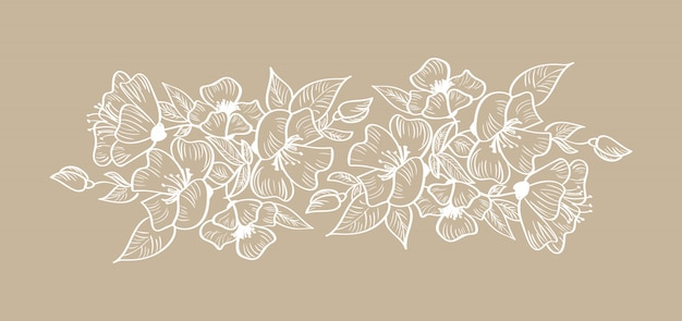Primavera floral quadro ornamento escandinavo tropical isolado