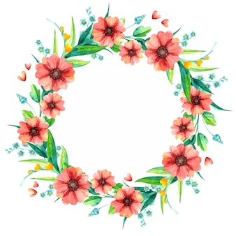 Primavera flores em aquarela moldura redonda decorativa. folhagem brilhante com flores vermelhas e amarelas.