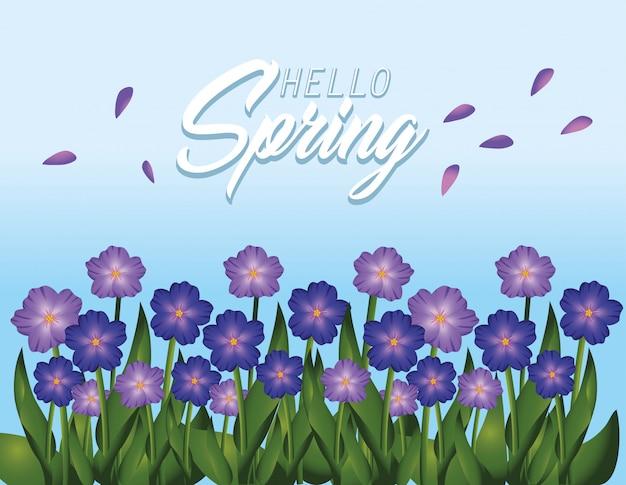 Primavera flores plantas com folhas de beleza