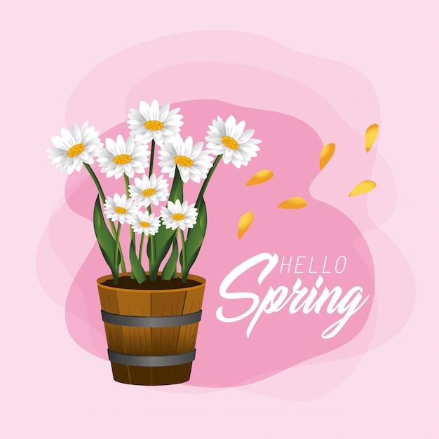 Primavera flores plantas com pétalas e folhas