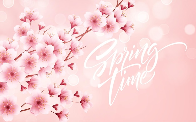 Primavera fundo bonito com primavera florescendo flores de cerejeira. filial de sakura com pétalas voando. ilustração vetorial eps10