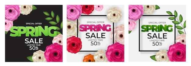 Primavera natural oferta especial venda fundo coleção poster flores e folhas modelo.