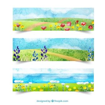Primavera paisagem da aguarela banners