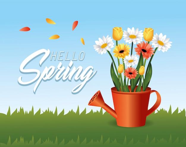 Primavera rosas e plantas de flores dentro de regador