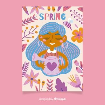 Primavera sazonal cartaz coleção mão desenhada