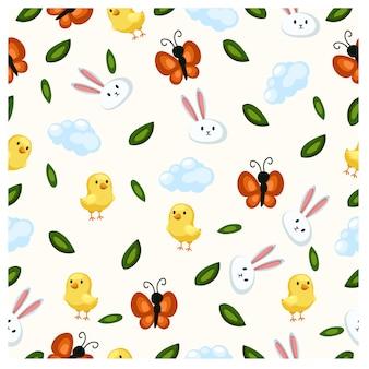 Primavera sem costura ou páscoa. para cartões, etiquetas, têxteis, papéis de parede, papel de embrulho.