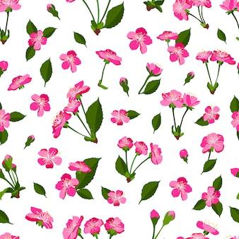 Primavera sem costura padrão com flor de cerejeira