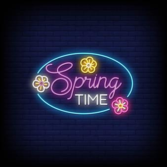 Primavera sinais de néon estilo texto