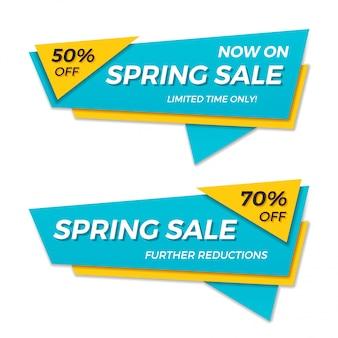 Primavera venda etiqueta preço banner distintivo modelo adesivo design.