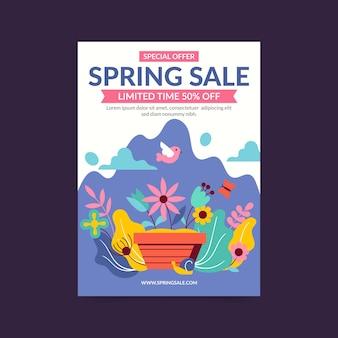 Primavera venda panfleto modelo design plano