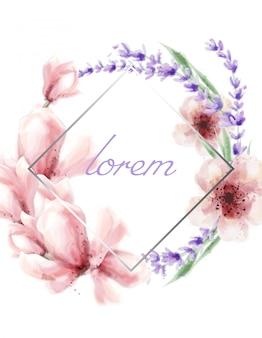 Primavera verão com moldura de flores em aquarela