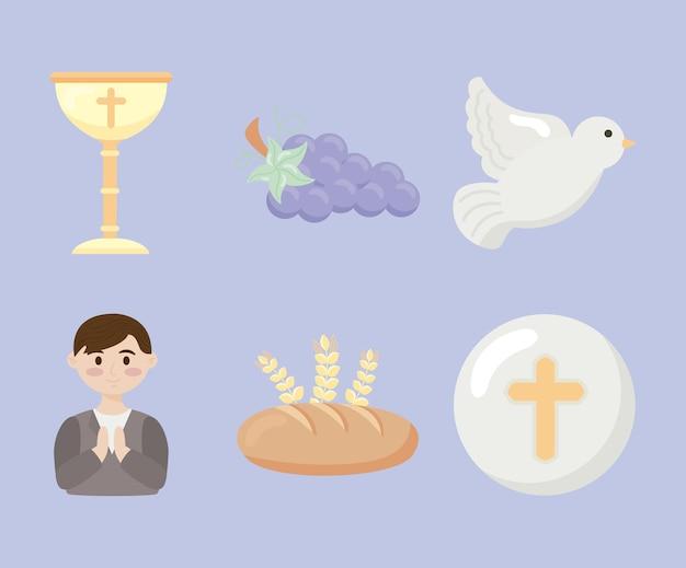 Primeira comunhão com seis ícones