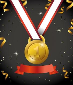 Primeira medalha com fita e confete para celebração