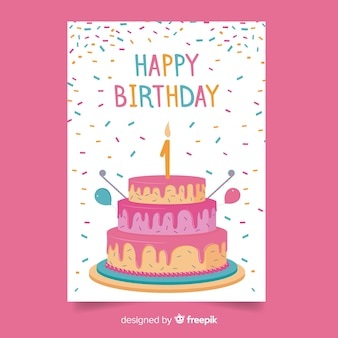 Primeira saudação de bolo de confetes de aniversário