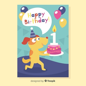 Primeira saudação de cachorro de aniversário