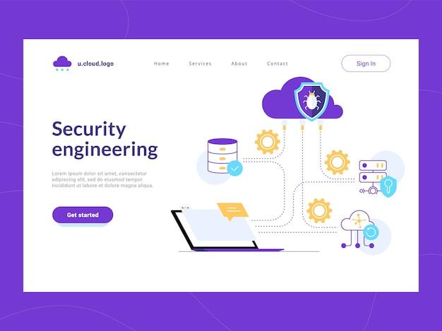 Primeira tela da página de destino da engenharia de segurança. crie um esquema de proteção eficaz para dados corporativos e rede contra vulnerabilidades. redução de risco e defesa de ataques cibernéticos de dados confidenciais