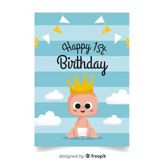 Primeiro aniversário bebê príncipe saudação