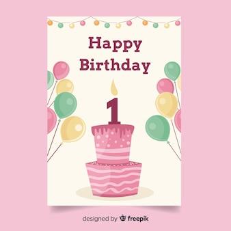 Primeiro aniversário bolo balões saudação