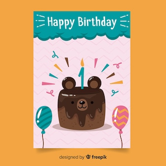 Primeiro aniversário urso bolo saudação