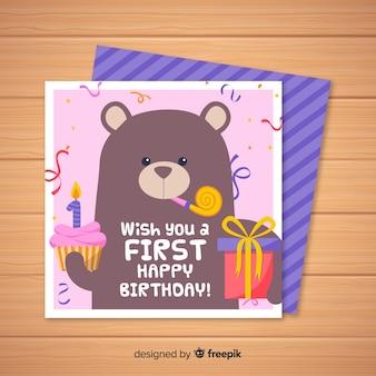 Primeiro cartão de convite de aniversário com urso