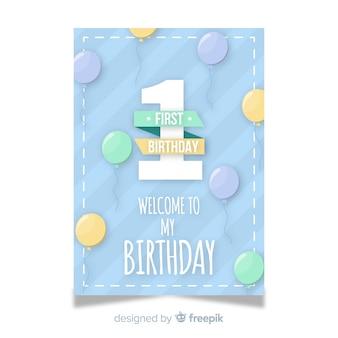 Primeiro cartão de convite de aniversário